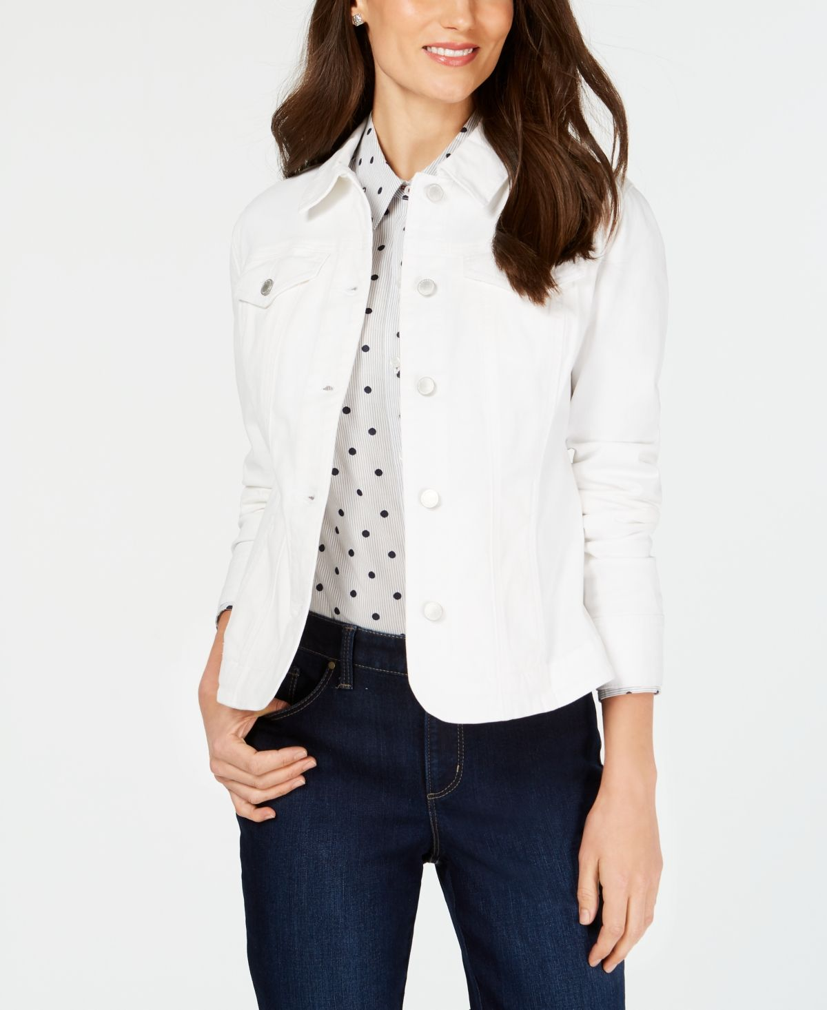 Charter Club Denim Jacket In Regular And Petite Created For Macy S Bright White Petite Denim Jacket Blazer Jackets For Women White Jean Jacket [ 1466 x 1200 Pixel ]