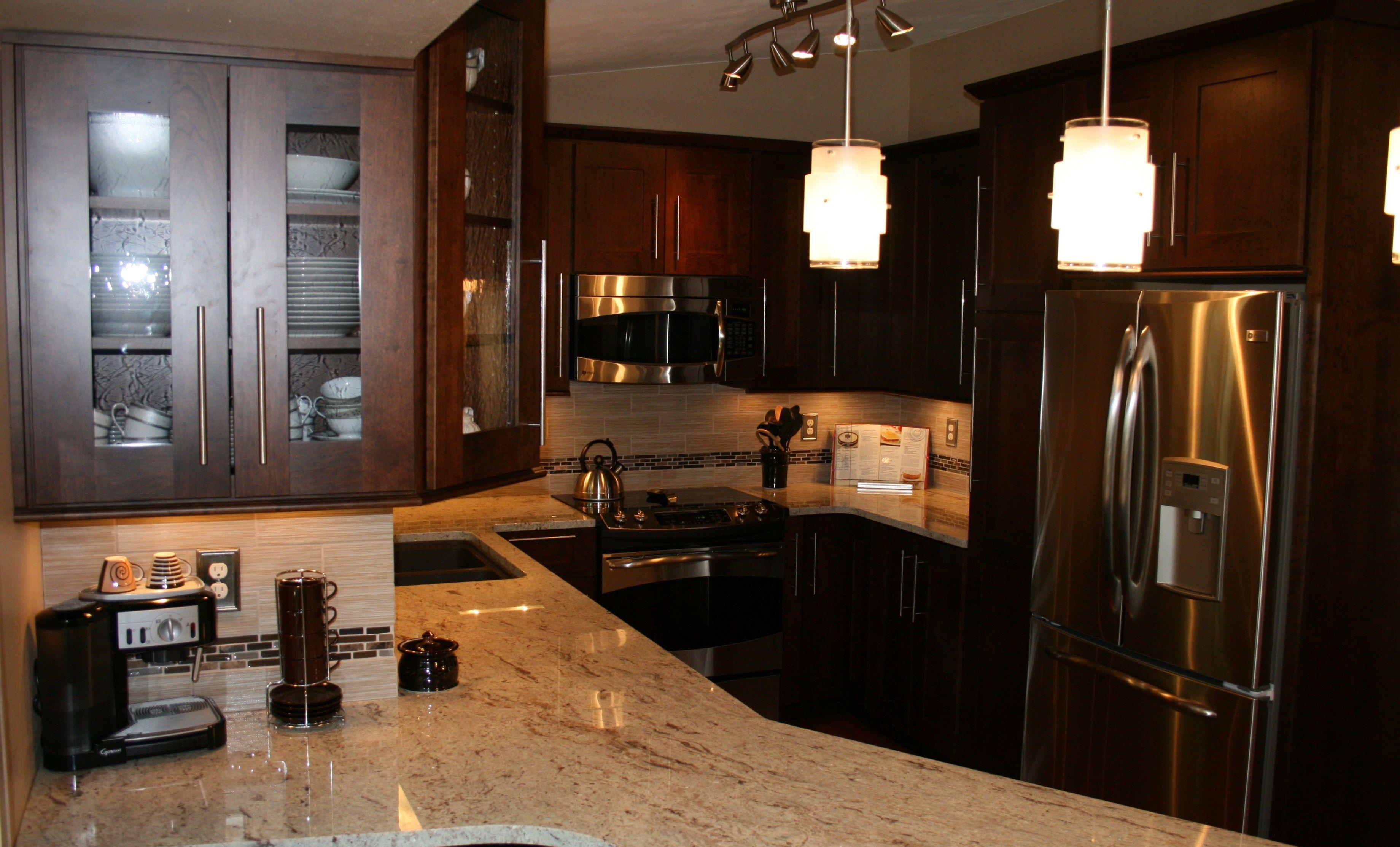 Dark Brown Cabinets with Light Granite Countertop | Dark ... on Black Granite Countertops With Brown Cabinets  id=47018