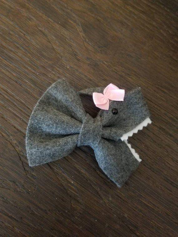 Shark hair bow, baby shark girl #hairbows
