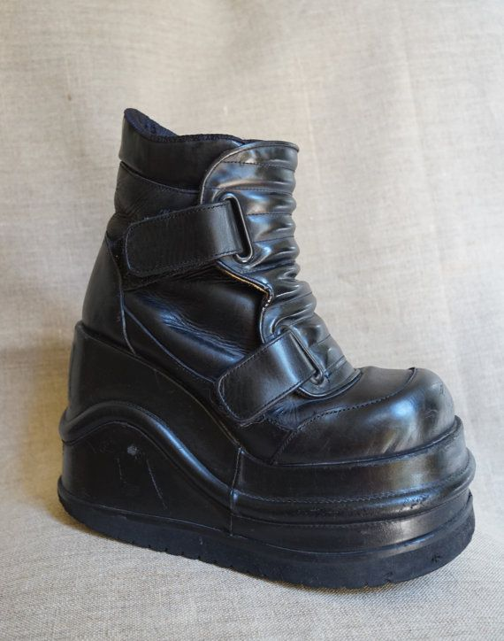 Vintage Shock Mega Platform Wedge Cyber Rave Goth Shoes -4538
