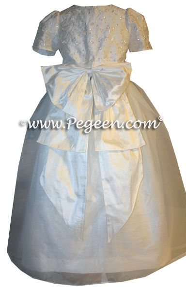 White Silk First Communion Dress With Sequins And Embroidery Also