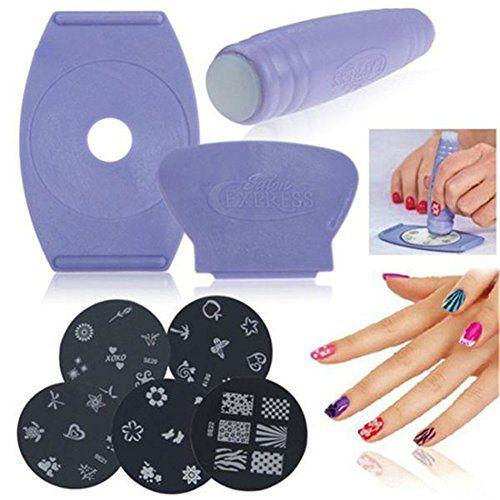 Urbun Salon Express Nail Art Stamping Kit With 5pcs Polish Stamp