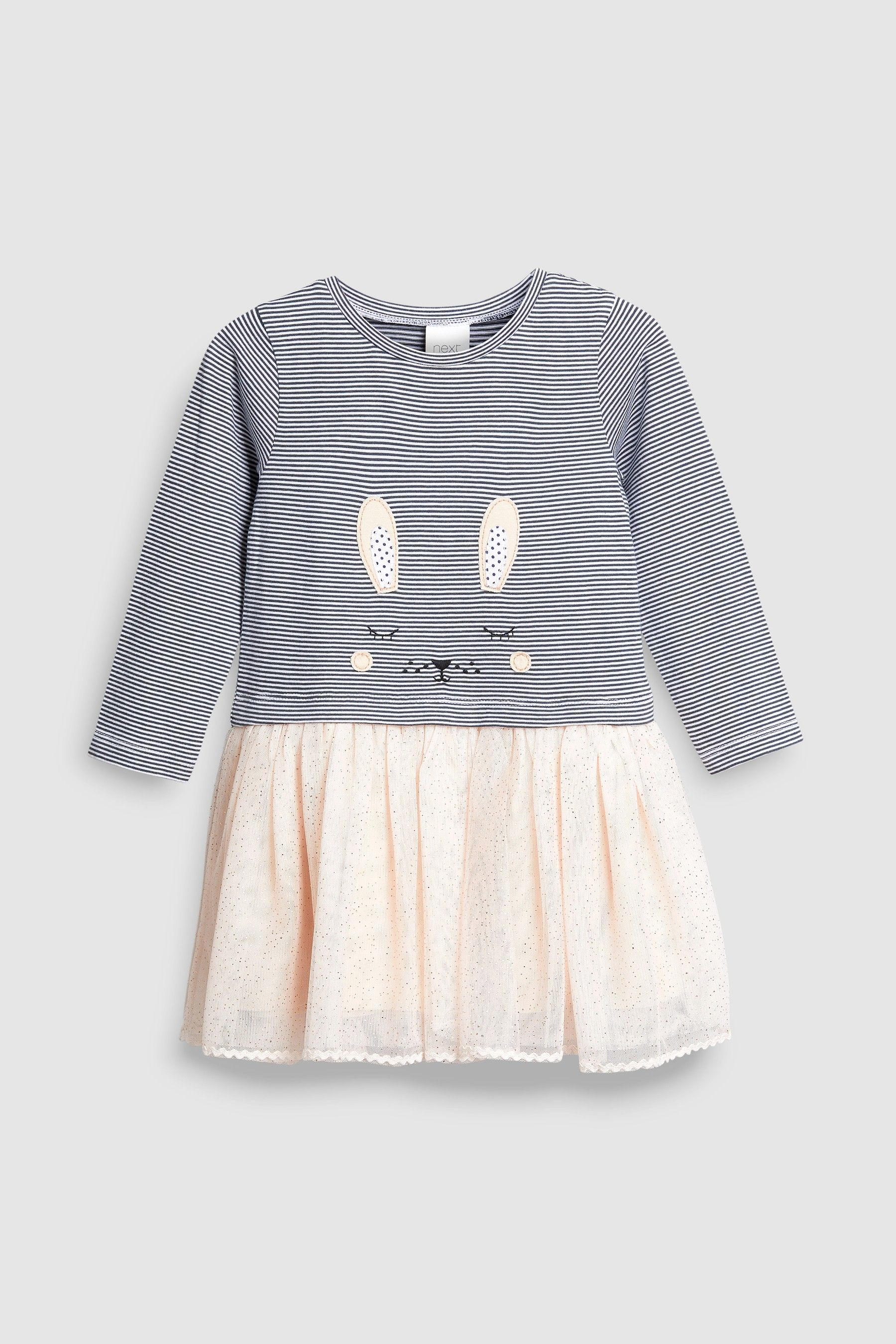 1538dd274 Girls Next Pale Pink Stripe Bunny Dress (3mths-6yrs) - Pink ...