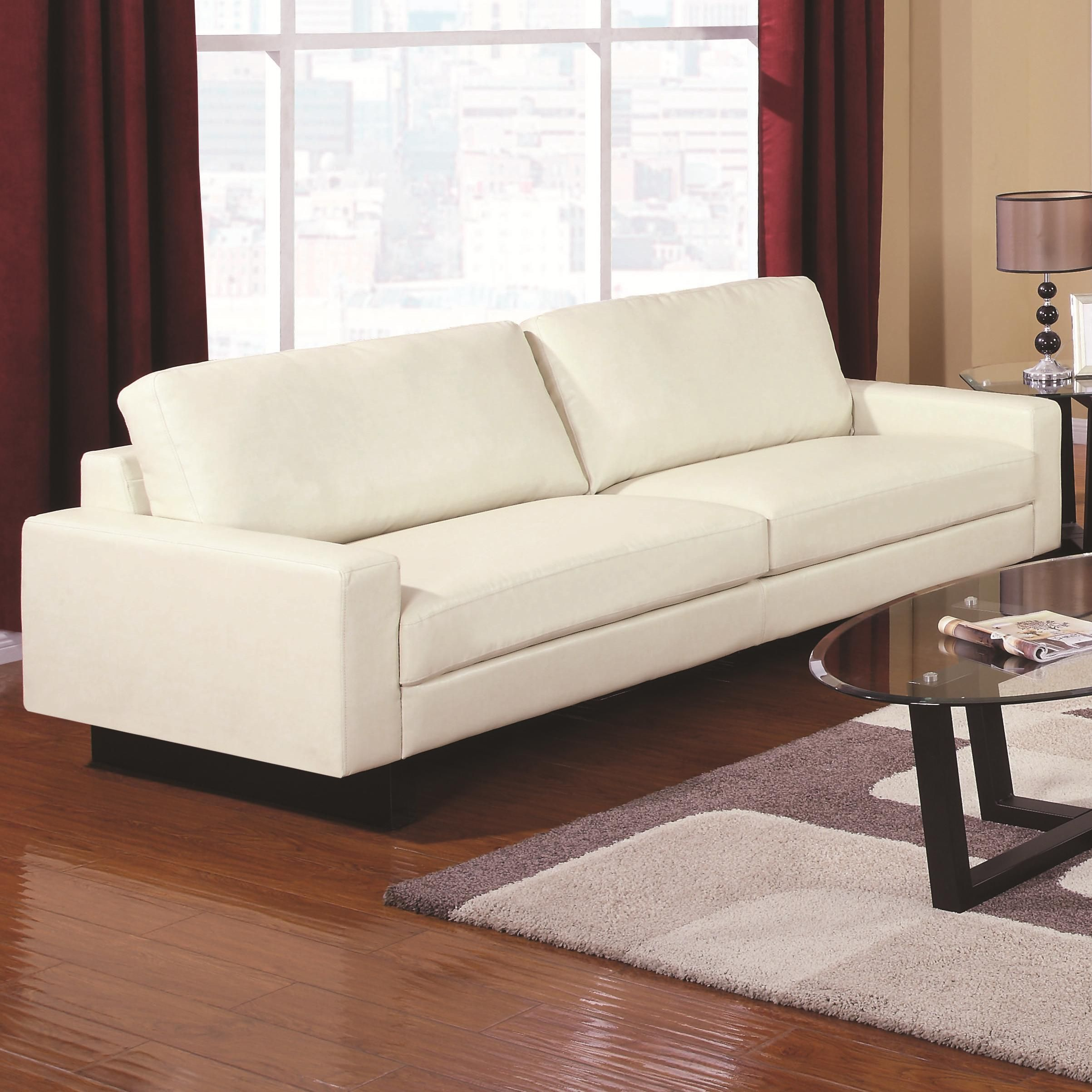 504301 - Ava Contemporary Leather Sofa with Platform Legs   *buy ...