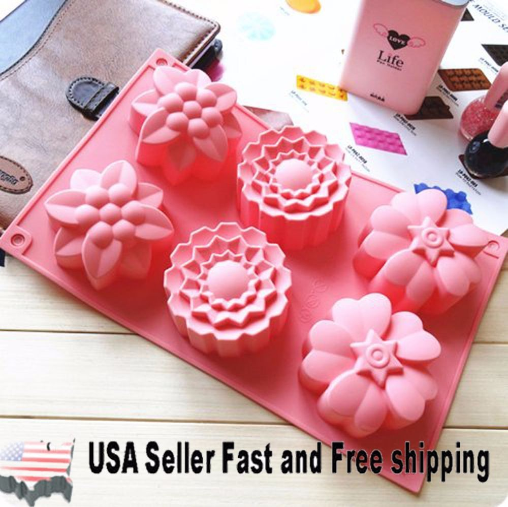 6 Cavity Flower Shaped Silicone DIY Handmade Soap Mold