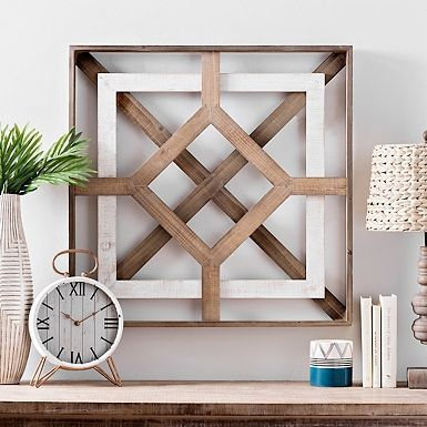 Geometric twotone wooden square wall plate  Wood Design Geometric twotone wooden square wall plate  Wood Design