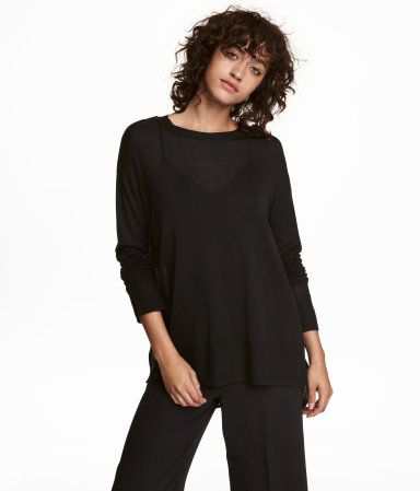 d0093d603b96 Black. Slightly wider-cut sweater in a soft, fine knit with dropped  shoulders and long sleeves. Ribbing at neckline, cuffs, and hem. Short  slits at sides.