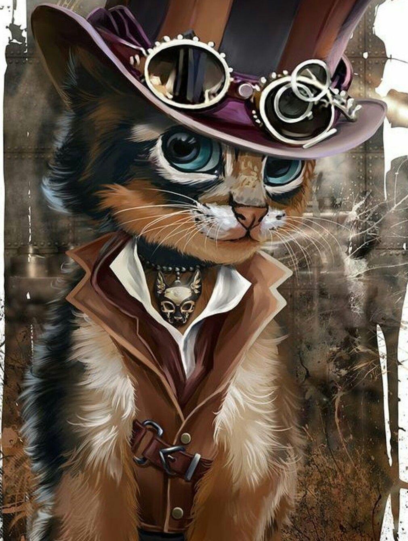 Pin Borial Inferno Steampunk Cat Art Cats