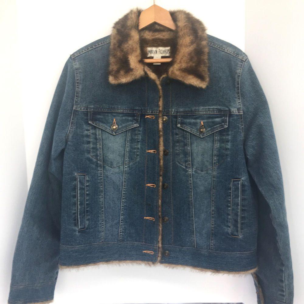 Marvin Richards Faux Fur Lined Denim Jean Jacket Navy Blue Women S Large Marvinrichards Jeanjacket Casual Denim Jean Jacket Denim Jean Jacket [ 1000 x 1000 Pixel ]