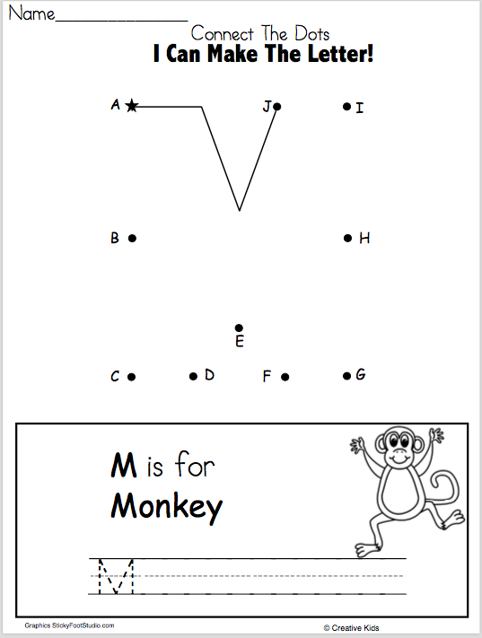 Letter M Writing Worksheet and Dot to Dot (Kindergarten and ...