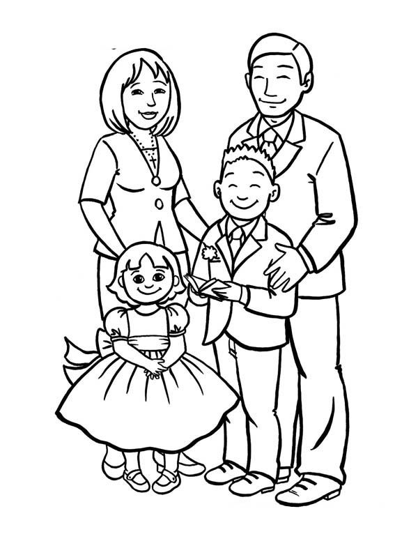 How To Draw A Beautiful Family Coloring Page