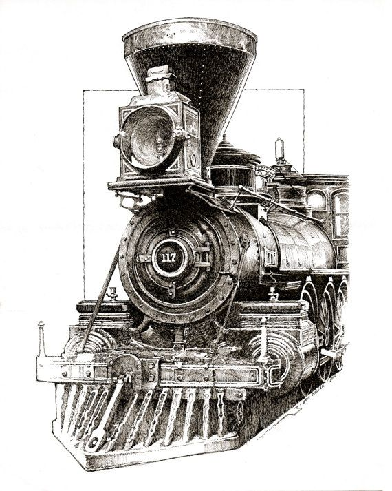 Pen and ink drawing of antique steam engine. | Pyrography ...