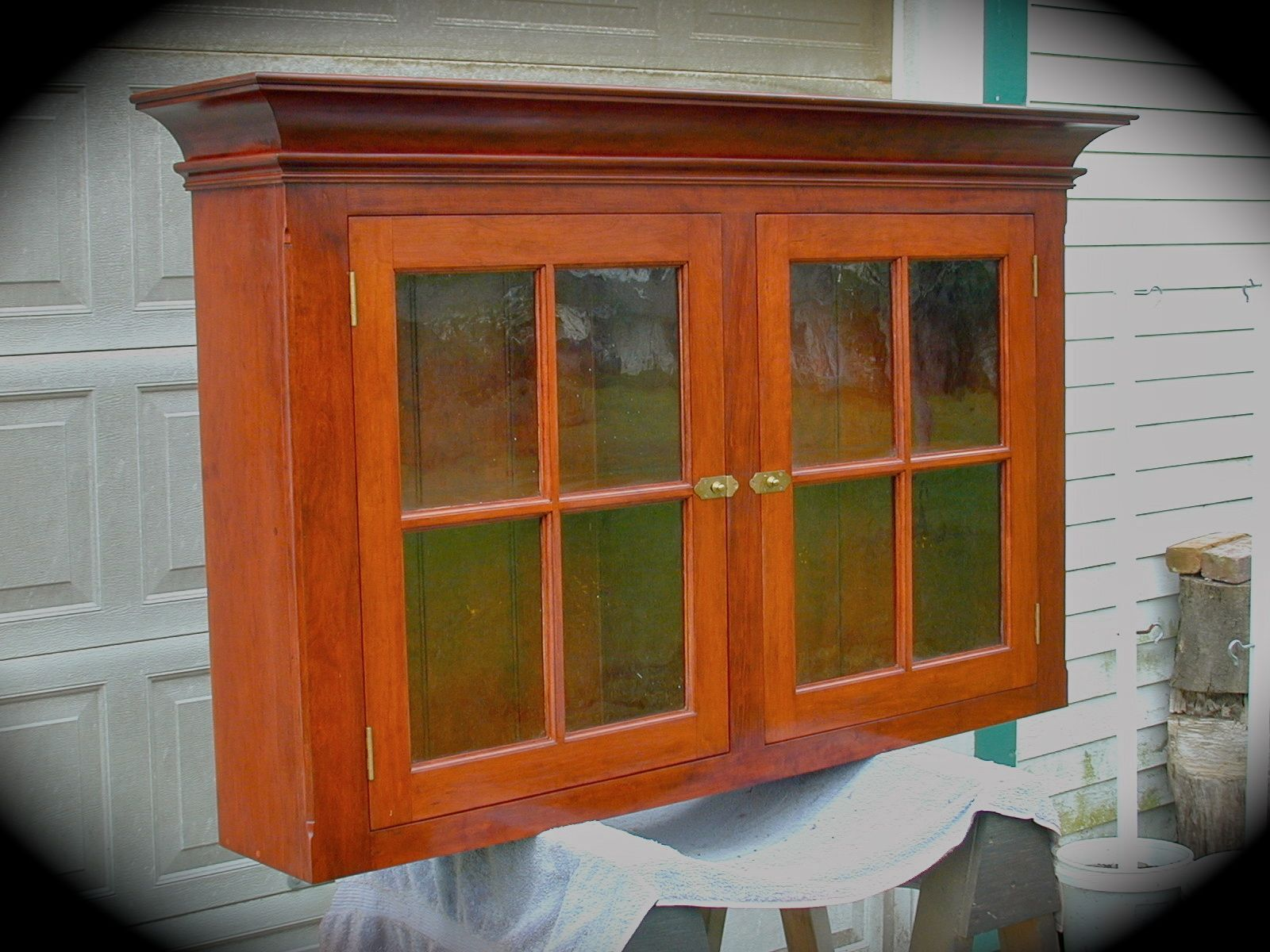 Custom Cherry Hanging Wall Cabinet. Pennsylvania Dutch Style Circa 1800.  The Doors Are Old