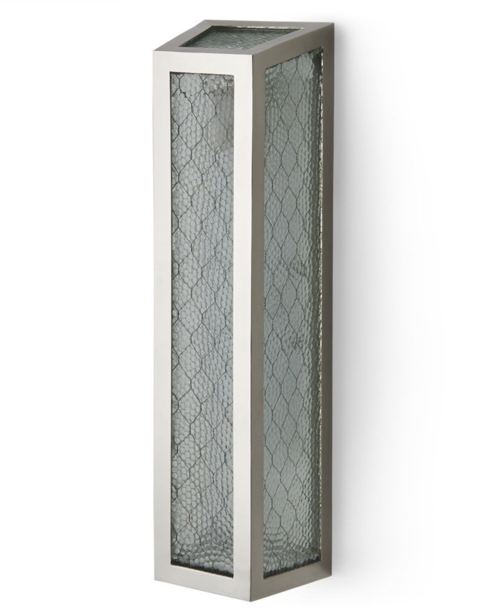 Brasserie Wall Mounted Single Sconce With Chicken Wire Glass - Single sconce bathroom lighting