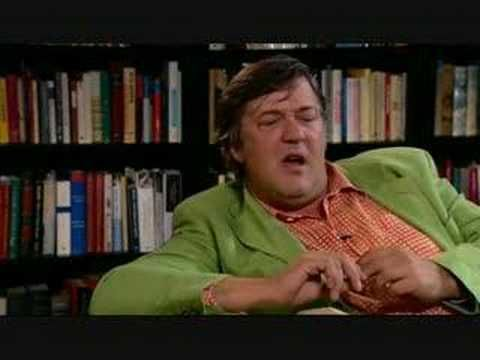 """Clive James talking in the Library: Stephen Fry 3/3...If I may ...:) The shirt made of - like """"trattoria """" table cloth...that B- belly...:))) It´s for good luck to rub it in East...:) Adorable :)"""