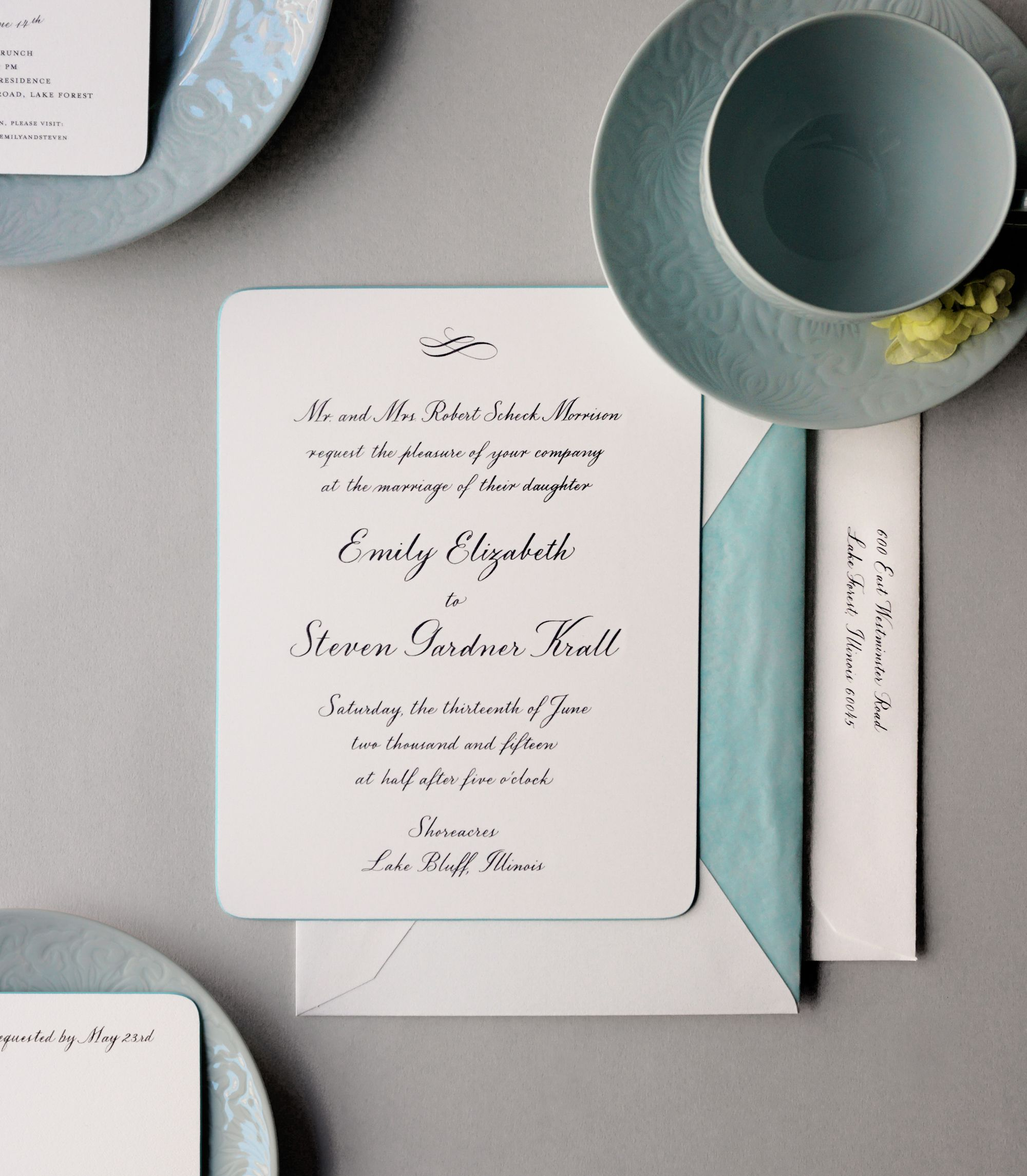 Something blue. Dempsey and Carroll wedding invitations never go out ...