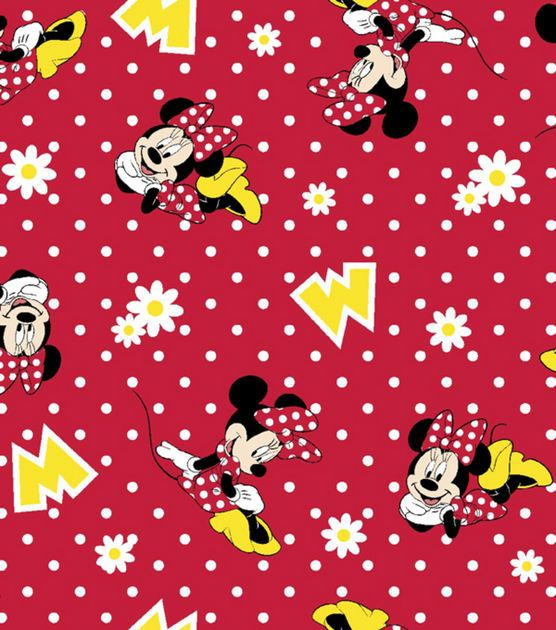 Disney Minnie Mouse Flannel Fabric -Dots | Fabric lust ...