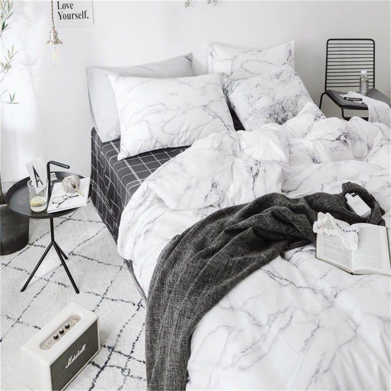100 Cotton Duvet Cover Set Super Soft Bedding Set White Etsy Duvet Cover Sets Marble Duvet Cover Comforter Sets