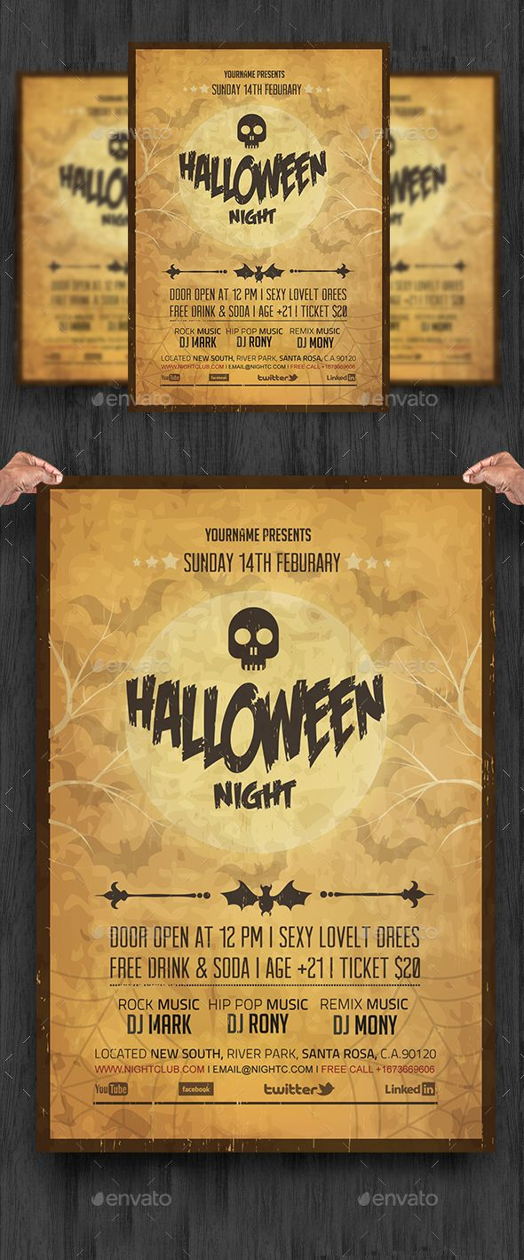 Vintage Halloween Night Party Flyer | Halloween night, Party flyer ...