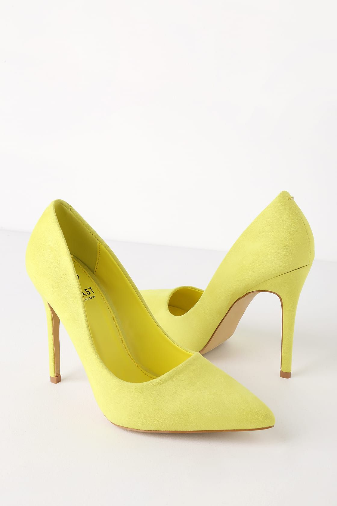 0518d6a654f Simona Neon Yellow Suede Pointed Toe Pumps in 2019 | spring heels ...