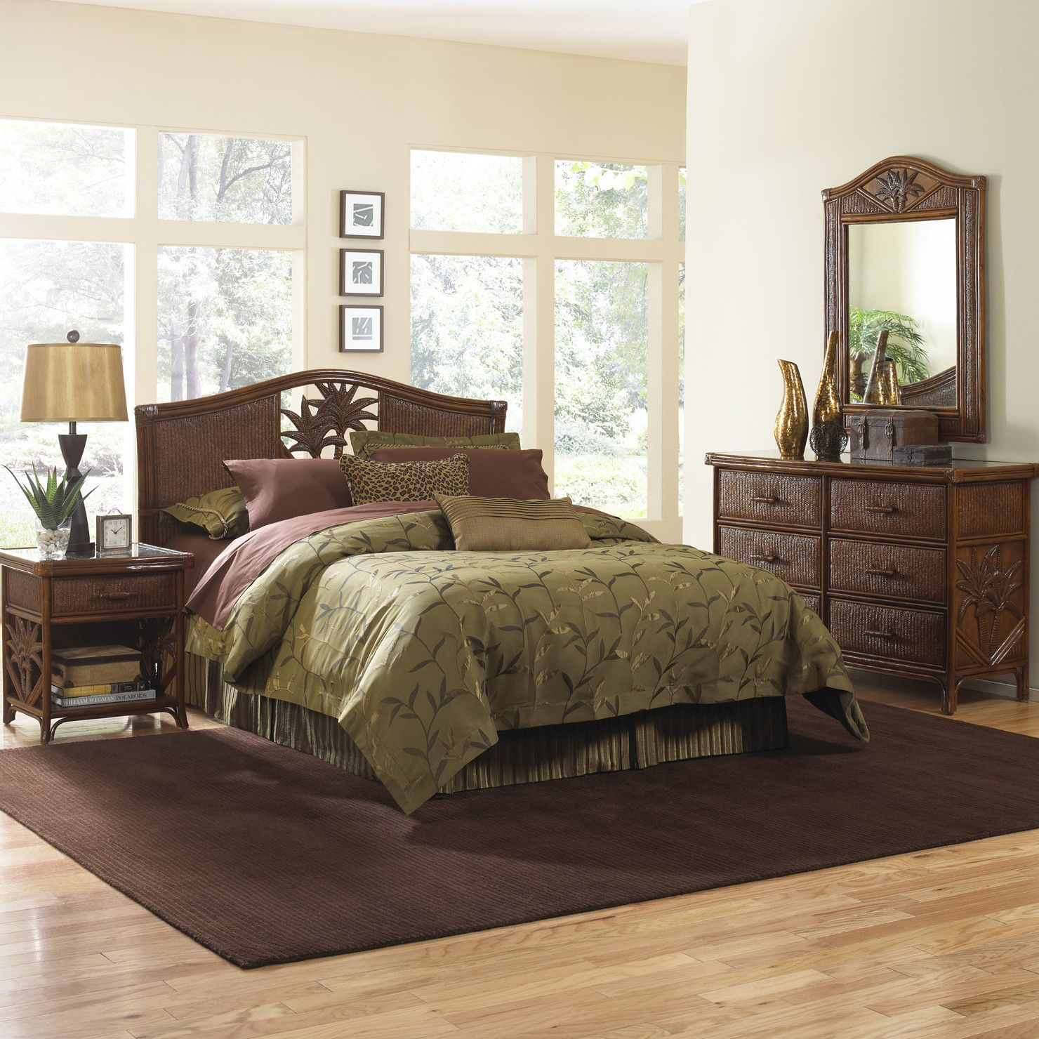 Hospitality Rattan Cancun Palm Panel 6 Piece Bedroom Collection