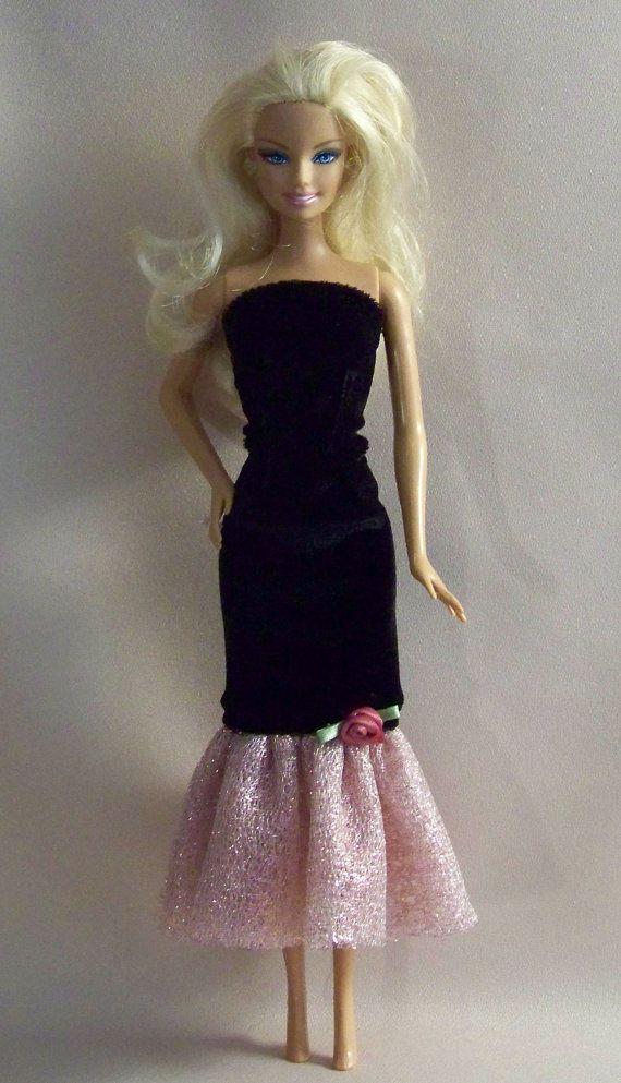 handmade barbie clothes black velvet gown with pink mesh barbie pinterest barbie kleider. Black Bedroom Furniture Sets. Home Design Ideas