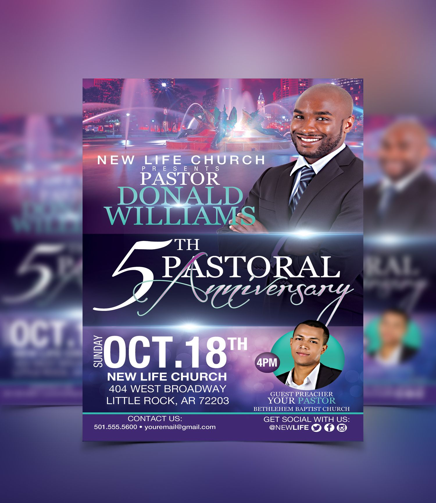 Pastoral Anniversary Flyer Template #flyerthemes