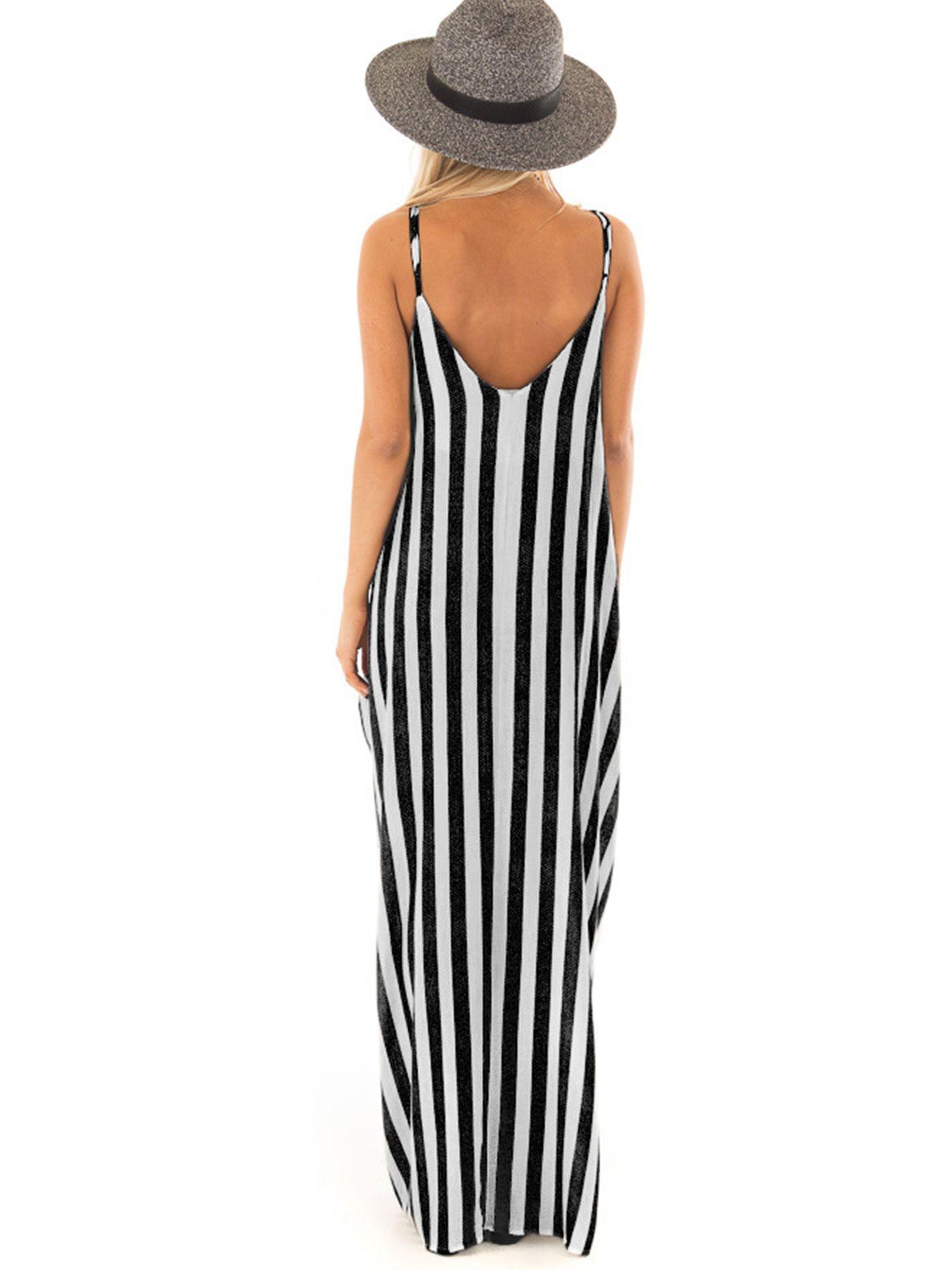 Women Boho Striped Strap Sling Long Maxi Dress V Neck Evening Party Beach Dresses Summer Sundress Ad Sling Womens Maxi Dresses Maxi Dress Maxi Dress Pattern [ 2000 x 1500 Pixel ]