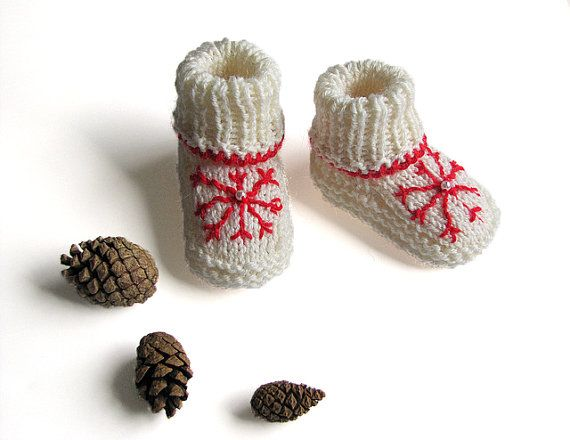 Hand knitted white baby Christmas booties with red by MiaPiccina