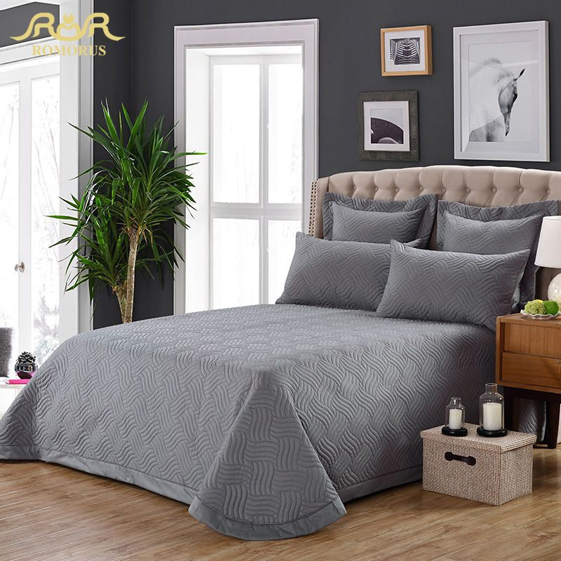 home d cor idea 3 Pieces Set 100  Cotton Solid Quilted Bedspread Set Gray  Quality Bed Sheet Cover Sets Pillowcase 245 260cm Hot Sale ROMORUS      AliExpress. home d cor idea 3 Pieces Set 100  Cotton Solid Quilted Bedspread