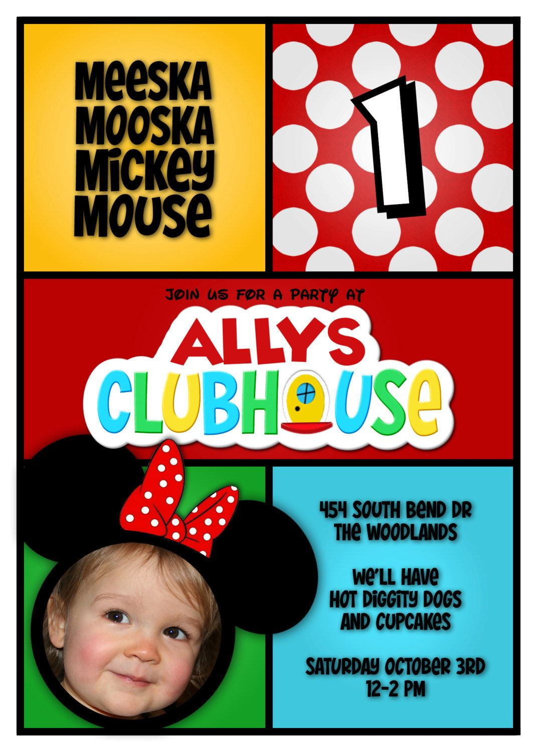 Mickey Mouse Clubhouse Invitation Minnie Photo First Birthday Party ...