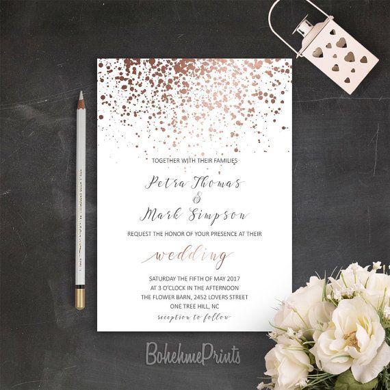 Rose Gold Wedding Invitation Printable Simple Wedding Invitation
