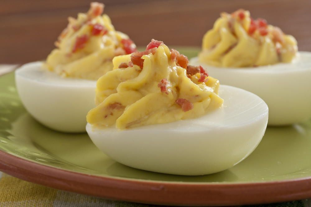 Horseradish and Bacon Deviled Eggs | MrFood.com