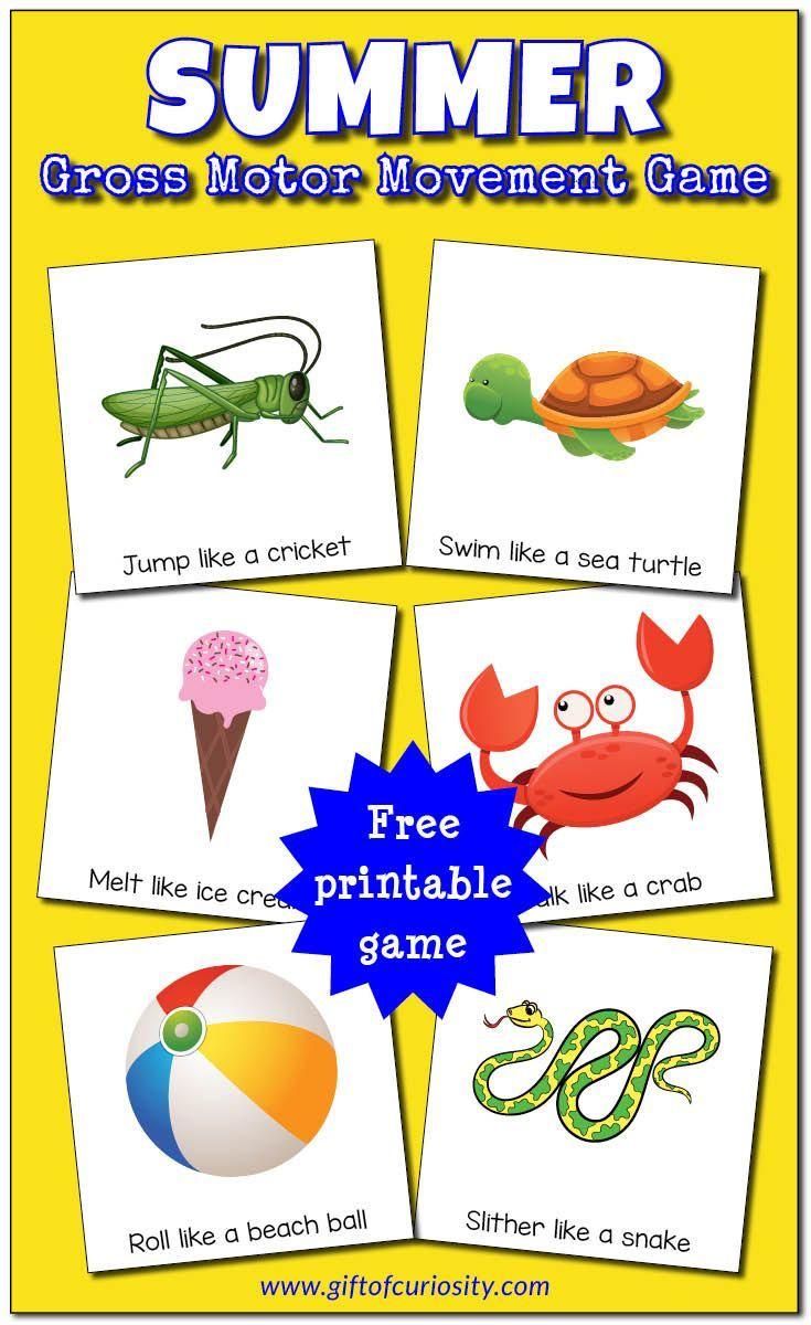 Summer Gross Motor Movement Game Free Printable Gross Motor Gross Motor Activities Preschool Games [ 1200 x 735 Pixel ]