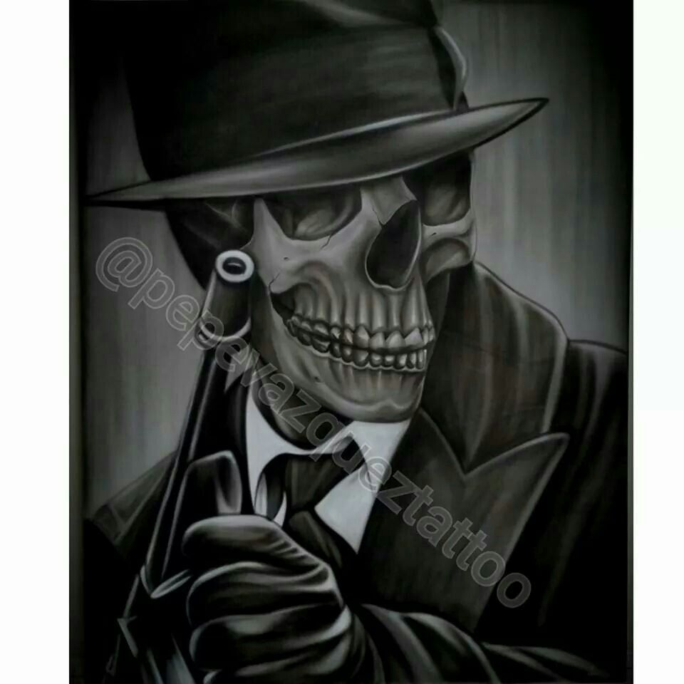 airbrushed by pepe vazquez skeleton with a fedora holding