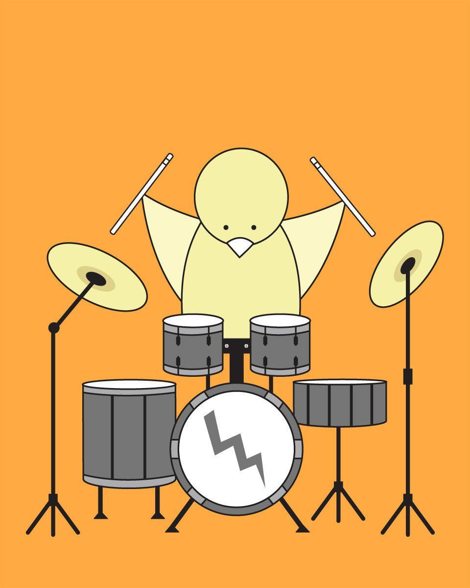 Orange Nursery Decor, Music Nursery, Nursery Art, Bird on a Drum Kit ...