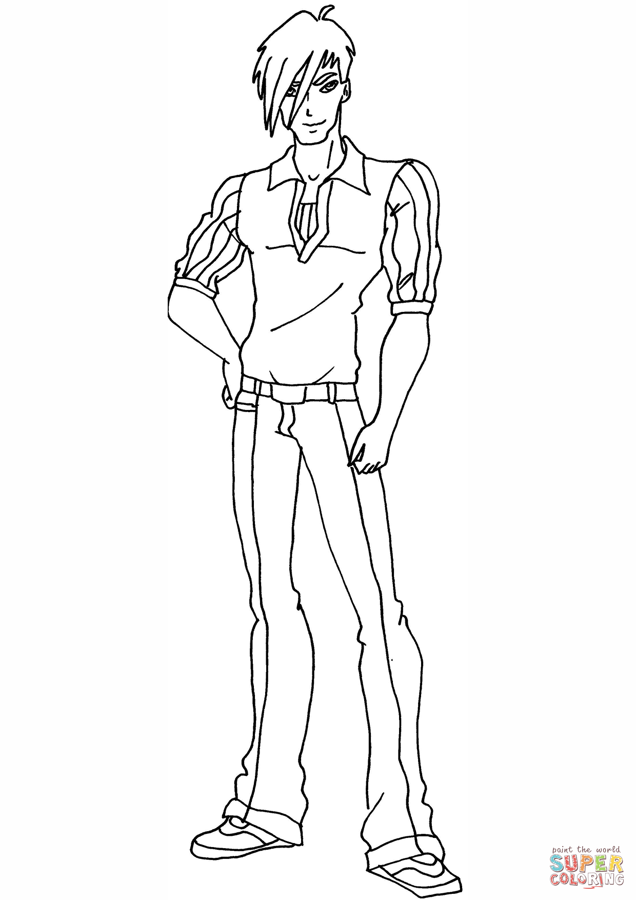 Winx Club Brandon Coloring Page Free Printable Coloring Pages Coloring Pages Free Printable Coloring Pages Paper Doll Template