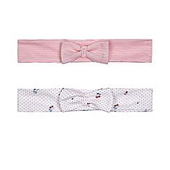 J by Jasper Conran - Pack of two baby girls' red striped and white cherry print headbands