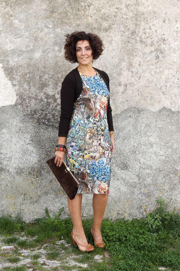 bodycon midi dress, stretch dress, curvy dress, dress for curves, how to dress curves, ax paris curves, mosaic dress, dolce & gabbana mosaic...