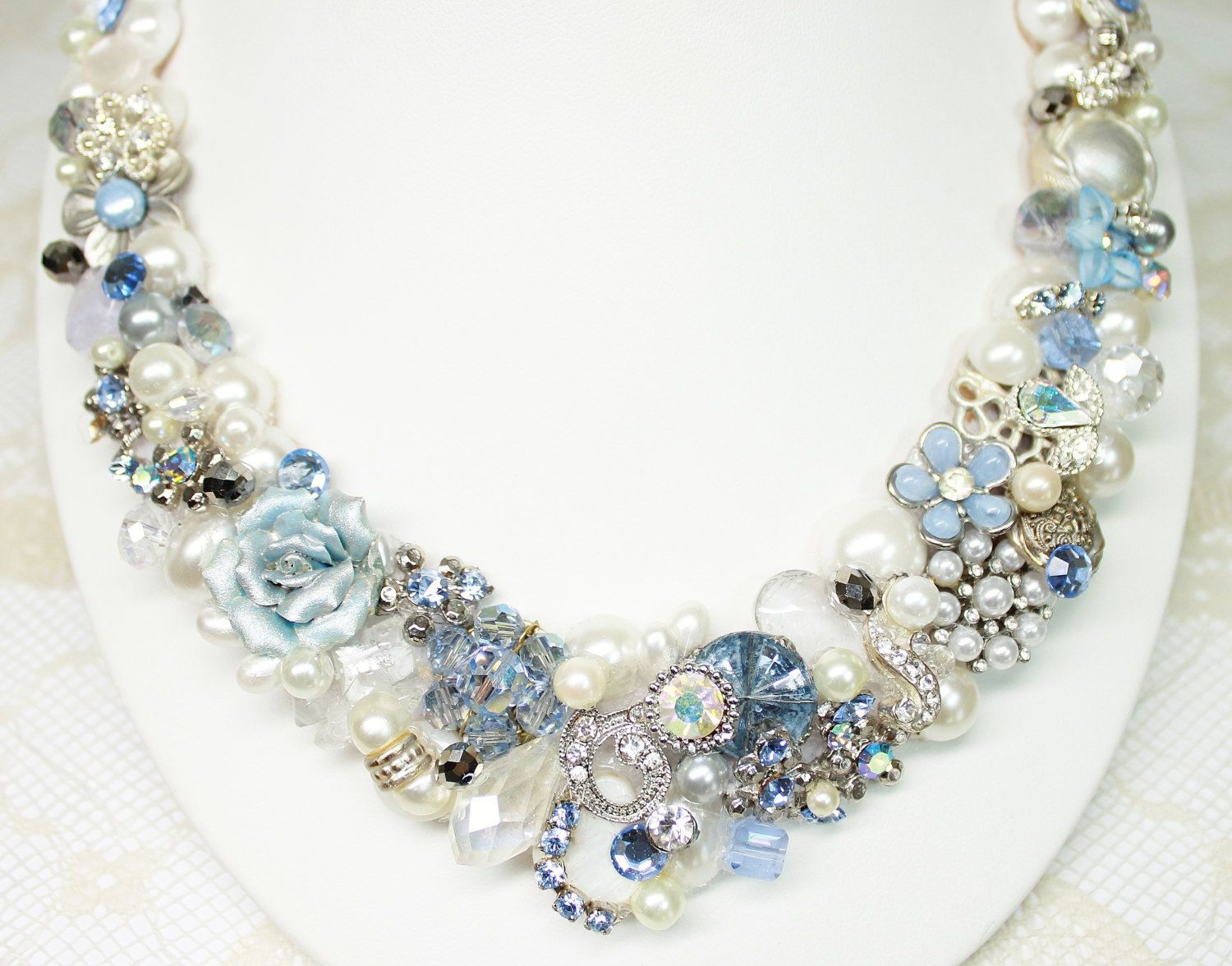RESERVED for NIKKI Light Blue Bridal Bib Necklace Pearl Vintage