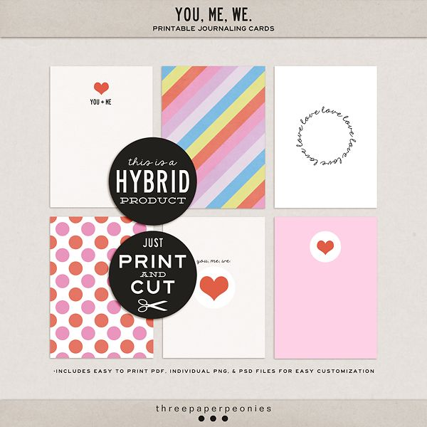 Oscraps :: Shop by Category :: All New :: you, me, we. | printable journaling cards