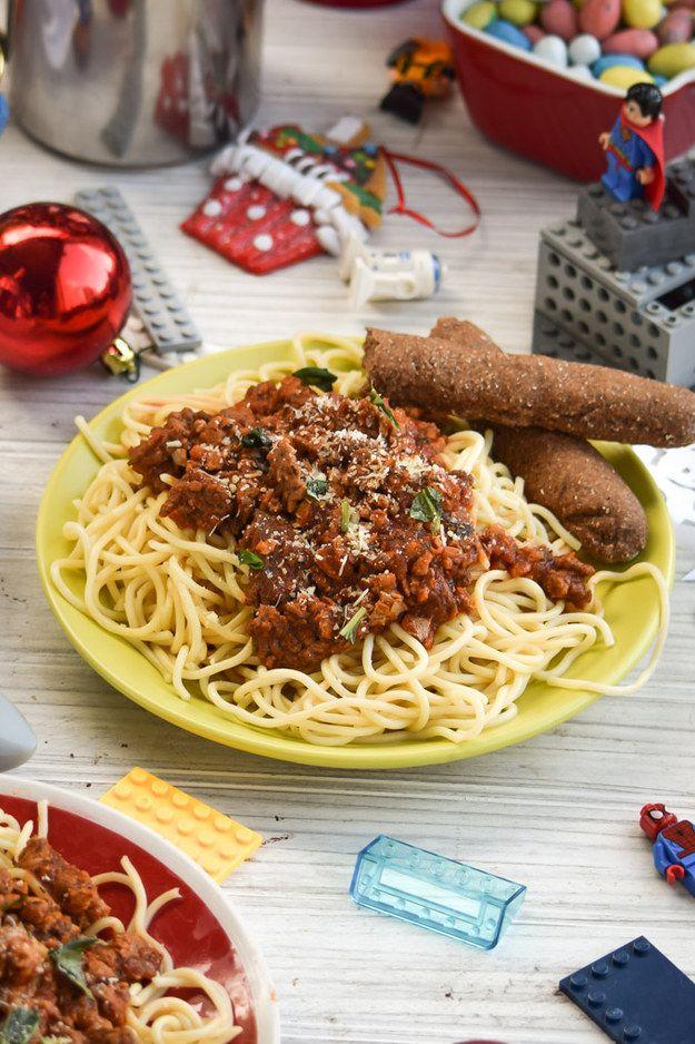 Maple Sausage Spaghetti with Chocolate Breadsticks