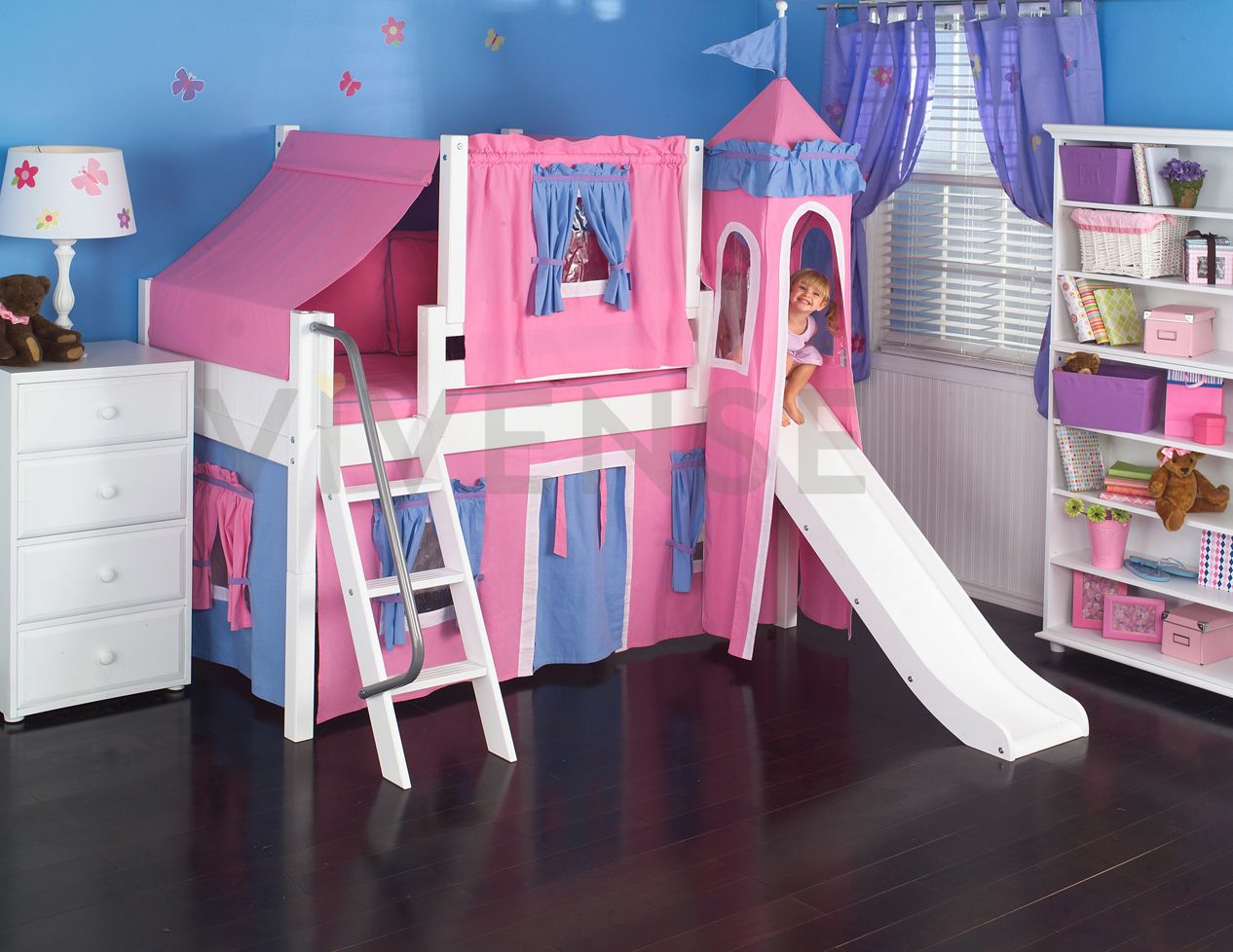 Bedroom furniture for girls castle - Maxtrix Princess Castle Bed W Angled Ladder And Slide Hot Pink Light Blue Twin Size Maxtrix Princess Castle Bed W Slide And Angle Ladder Hot