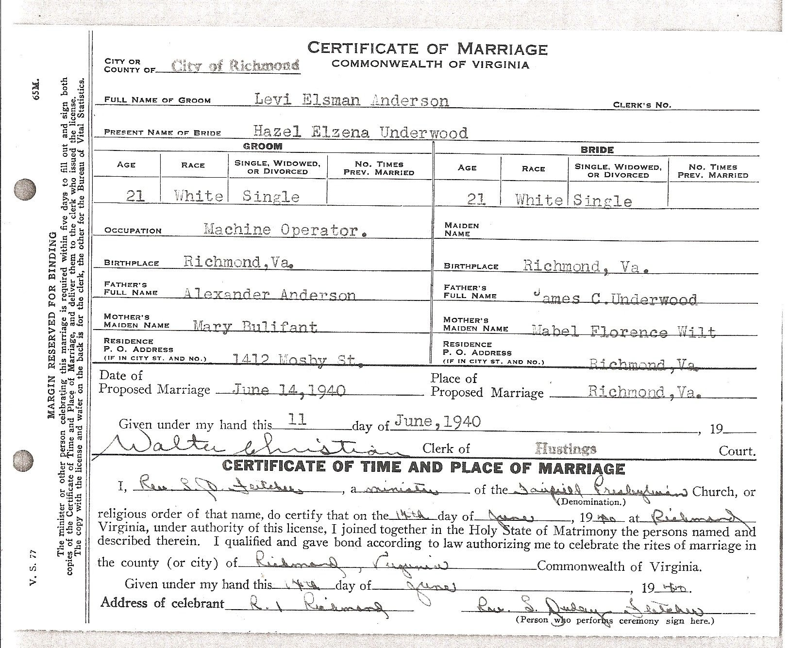 Marriage Certificate For Levi Anderson And Hazel Underwood