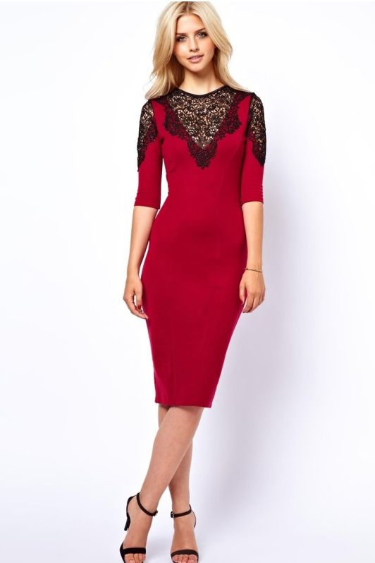 Exquisite lace stitching sleeve package hip dress_Dresses(d)_DESIGNER_Voguec Shop