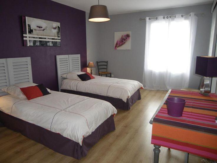 idée peinture chambre couleurs aubergine gris -chambre coloris ...