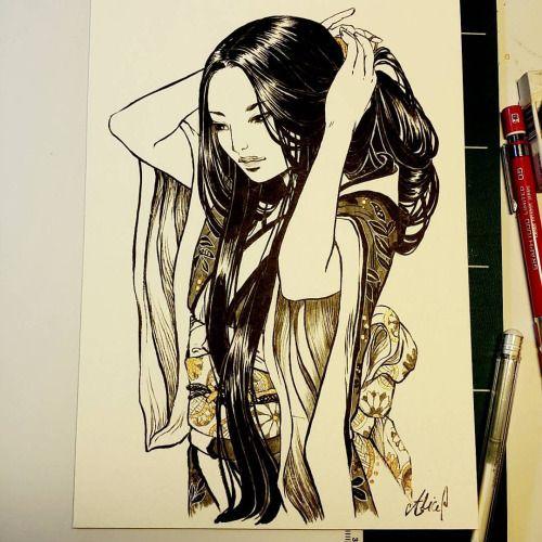 nymbruyn:Variante de ma jeune fille en kimono pour une...