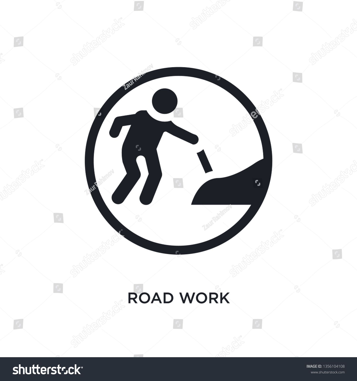 black road work isolated vector icon simple element illustration from traffic signs concept vector icons road work editable logo symbol design on white background can be...