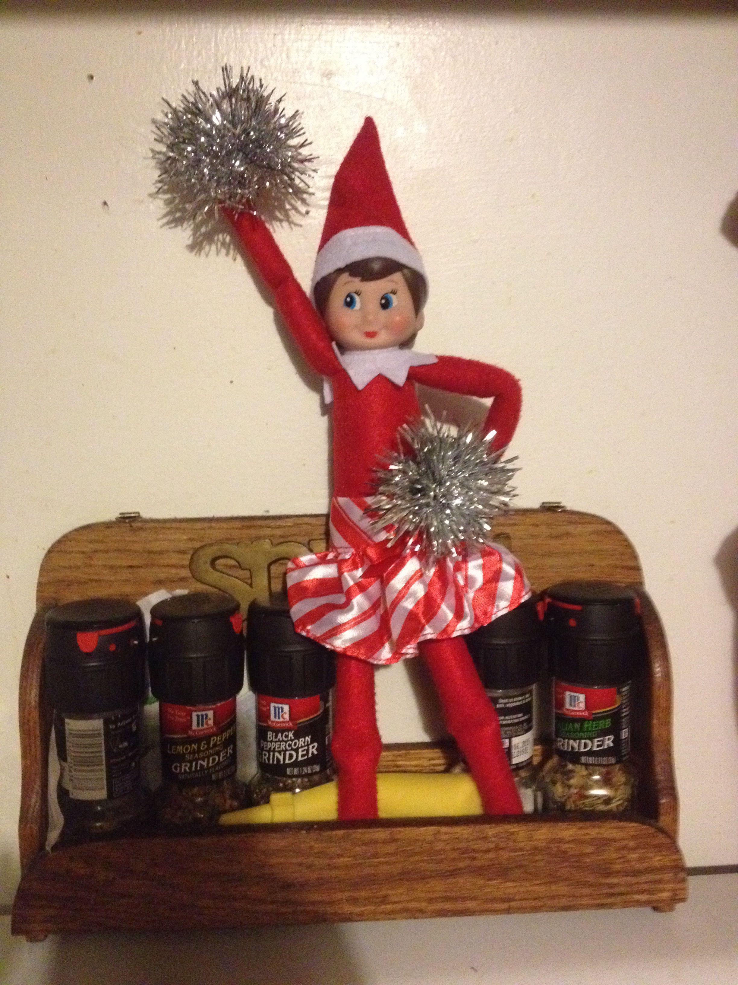 Elf on the shelf cheerleader idea pose Elf on a shelf