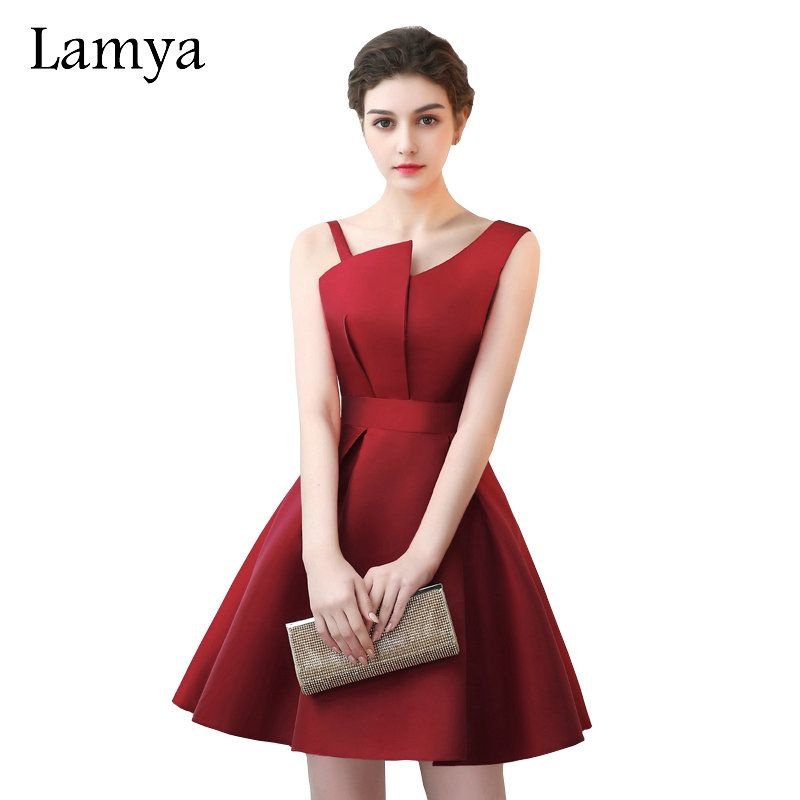 515bd9fe01f Lamya Scalloped Cheap Red Stain A Line Prom Dresses 2017 Elegant Evening  Party Dress Plus Size Special Occasion Gowns-in Prom Dresses from Weddings    Events ...